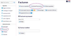 Knop achteraf factureren in Flexpulse Rijschoolsoftware