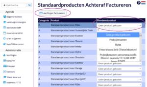 Keuze maken welke producten standaard gefactureerd worden