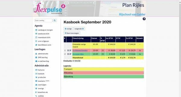 Kasboek in PlanRijles